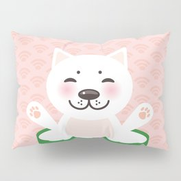 I love sushi. Kawaii funny sushi roll and white cute cat with pink cheeks, emoji. Pink background Pillow Sham