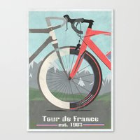 tour de france Canvas Prints featuring Tour De France Bicycle by Wyatt Design