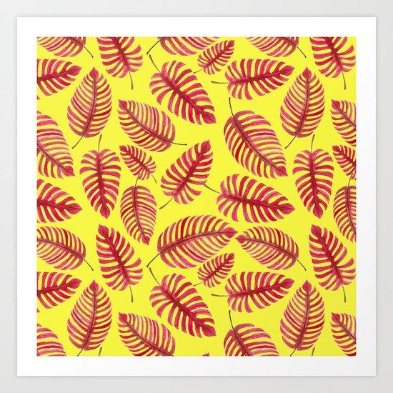 Monstera leaves, tropical watercolor pattern Art Print