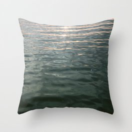Golden hour at sea | Ocean seaside travel photography | Waves Throw Pillow