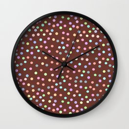 chocolate Glaze with sprinkles. Brown abstract background Wall Clock