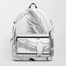 Seagulls with feathers - Ink artwork Backpack
