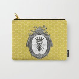 Queen Bee | Vintage Bee with Crown | Honeycomb | Carry-All Pouch