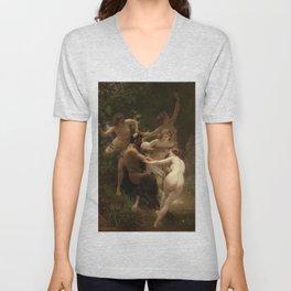 "William-Adolphe Bouguereau ""Nymphs and Satyr"" Unisex V-Neck"