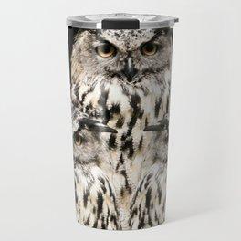 Three Wise Owls on Black Background #decor #society6 #buyart Travel Mug