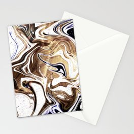 Metallic Gold Purple White Marble Swirl Stationery Cards