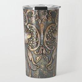 Golden Brown Carved Tooled Leather Travel Mug