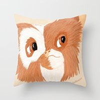 gizmo Throw Pillows featuring Gizmo by ItalianRicanArt