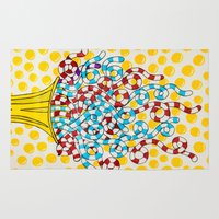 trumpet Area & Throw Rugs featuring happy trumpet by Daniel Jackman