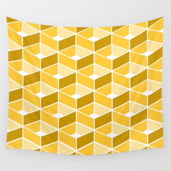 Simple Pattern Yellow Wall Tapestry