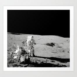Apollo 14 - Black & White Moon Work Art Print