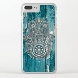 Silver Hamsa Hand On Turquoise Wood Clear iPhone Case