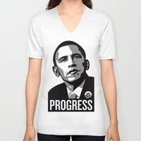 obama V-neck T-shirts featuring Obama by loveme