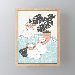 Pugs with tropical plants Framed Mini Art Print