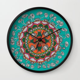 Fish in the lotus pond Wall Clock