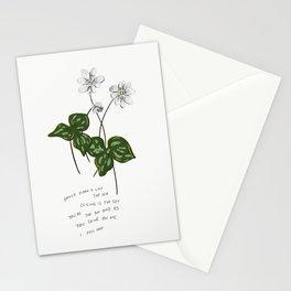 As You Shine on Me I Feel Free White Green Flower Illustration Romantic Lyric Stationery Cards