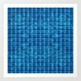Ocean Blue and Pale Velvety Gingham Plaid Texture Art Print