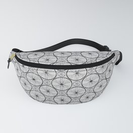 For the Love of Cycling Pattern - Grey Black Fanny Pack