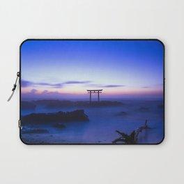 Amazing Ancient Oceanside Japanese Shinto Gate Romantic Sunset HD Laptop Sleeve
