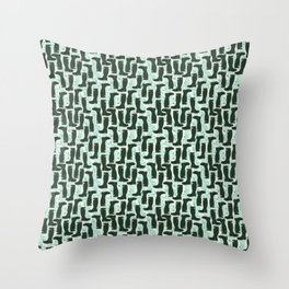 Hunter Green Wellington Welly Boots with Bluebell Flowers on Pastel Aqua Streaky Stripes Throw Pillow