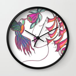 Hummingbird Girl Wall Clock