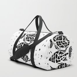 Black and white illustration . Fish . Duffle Bag
