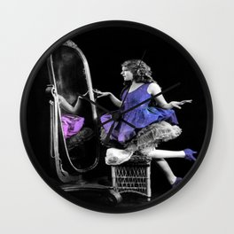 Through the Looking Glass Blue Purple Wall Clock