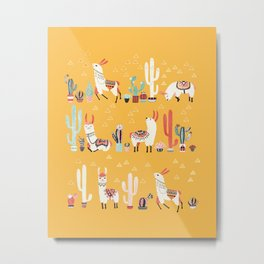 Happy llama with cactus in a pot Metal Print