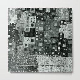 City Grid Pattern in Grays Metal Print