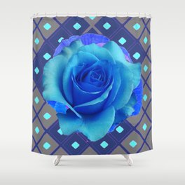Luminous Electric Blue Rose on Grey Pattern Art Shower Curtain