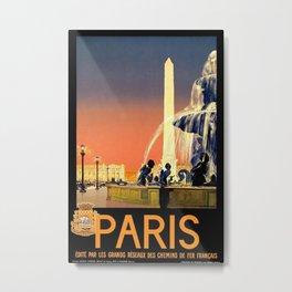 Paris, edite par les grands reseaux des chemins de fer francais - Vintage French Travel Poster Metal Print