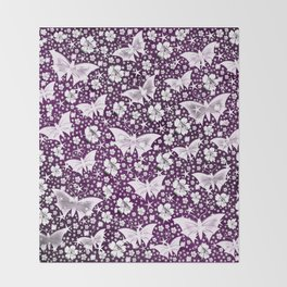 purple,siilver,flowers, stars, butterfly, pattern, bright, shiny, elegant, color Throw Blanket