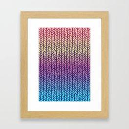 Rainbow Gradient Chunky Knit Pattern Framed Art Print
