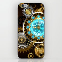 Unusual Clock with Gears ( Steampunk ) iPhone Skin