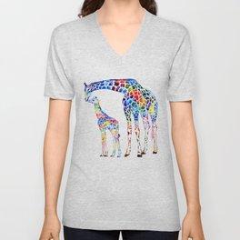 Colorful giraffes Unisex V-Neck