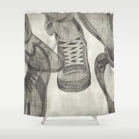 shoes Shower Curtains featuring shoes by Caterina Zamai