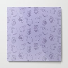 Cute and nice fruits and berry pattern with plum Metal Print