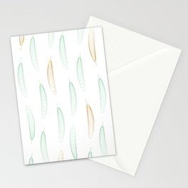 Large Feathers - Green & Gold #917 Stationery Cards