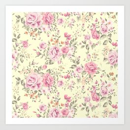 Shabby roses pink and yellow Art Print