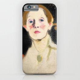 Self Portrait with Black Background - Helene Sofia Schjerfbeck iPhone Case