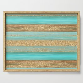 Turquoise Brown Faux Gold Glitter Stripes Pattern Serving Tray