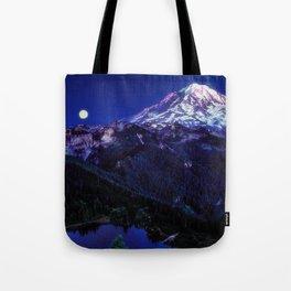 Mt Rainier Sunset and Full Moon 2017 Tote Bag