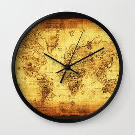 Arty Vintage Old World Map Wall Clock