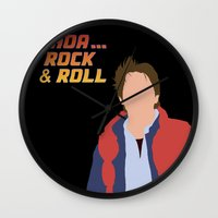 marty mcfly Wall Clocks featuring Marty McFly by Christina