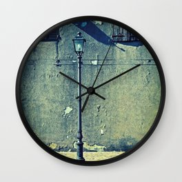 Street lamp and two windows Wall Clock