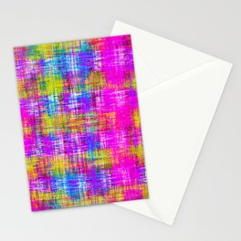plaid pattern painting texture abstract background in pink purple blue yellow Stationery Cards