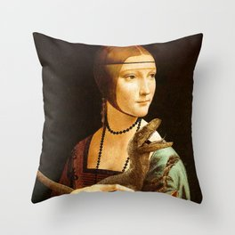 Lady with a Velociraptor Throw Pillow