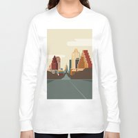 austin Long Sleeve T-shirts featuring Austin Skyline by Kurtis Beavers