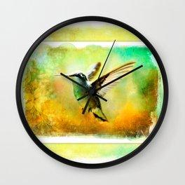 Hummingbird in Flight Watercolor Wash Wall Clock