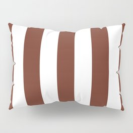 Liver (organ) Brown - solid color - white vertical lines pattern Pillow Sham